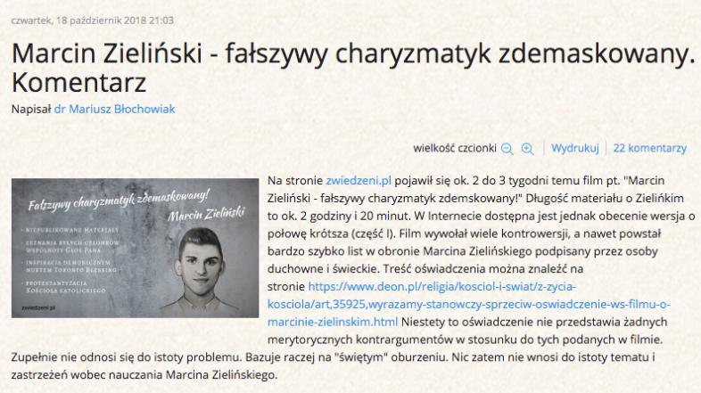 Marcin Zieliński – fałszywy charyzmatyk zdemaskowany. Komentarz