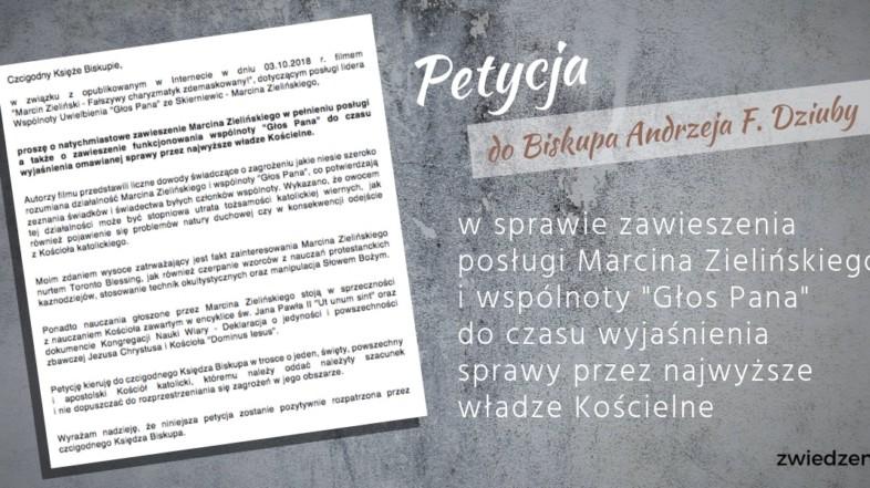 """Petycja w sprawie zawieszenia posługi Marcina Zielińskiego i wspólnoty """"Głos Pana"""""""