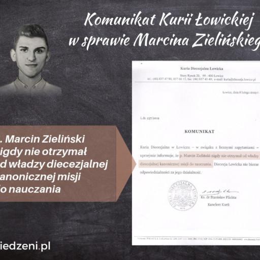 Komunikat Kurii Łowickiej w sprawie Marcina Zielińskiego